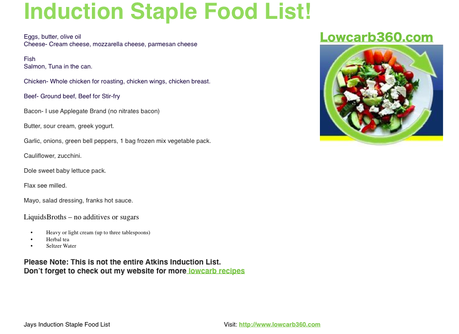 graphic about Printable Atkins Induction Food List identify Eating plan Applications: Atkins Induction Food plan